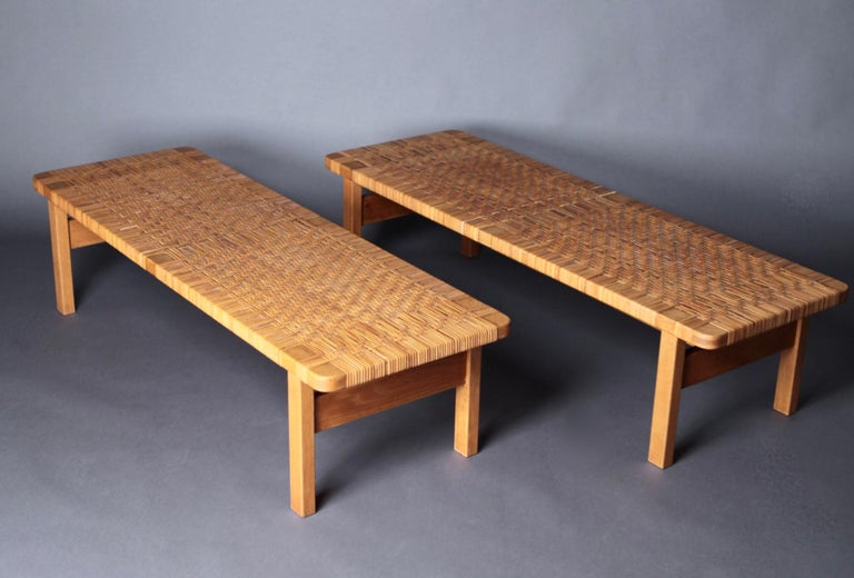 Scandinavian Modern Pair of Tables or Benches in Oak and Cane, Designed by Børge Mogensen, 1950s