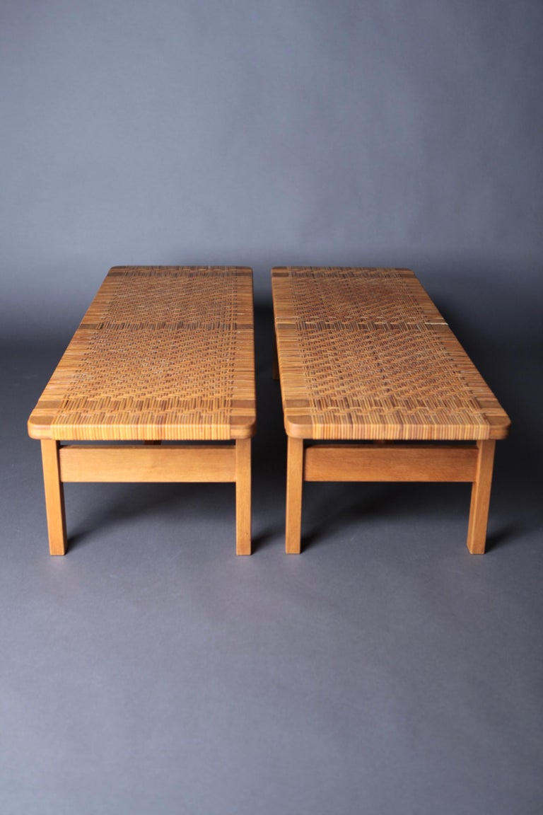 Danish Pair of Tables or Benches in Oak and Cane, Designed by Børge Mogensen, 1950s