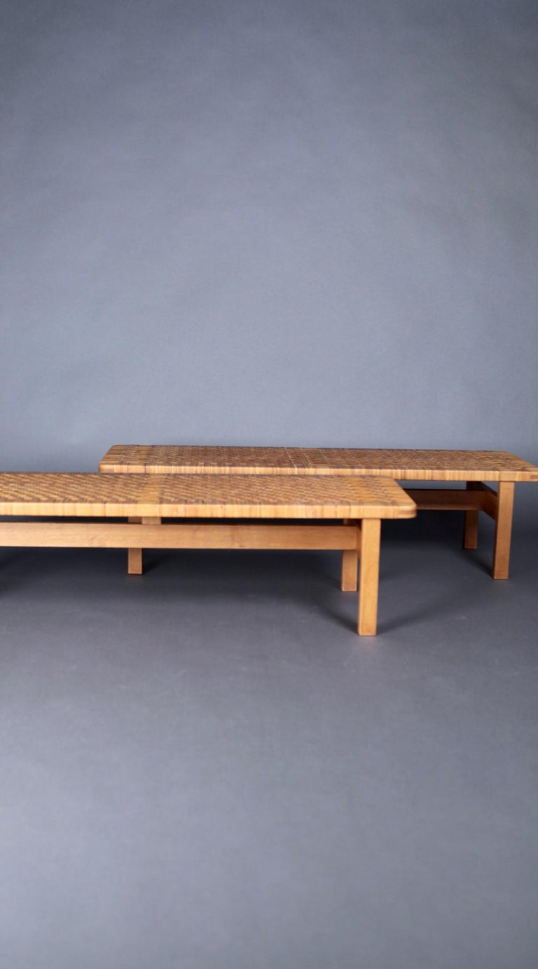 Pair of Tables or Benches in Oak and Cane, Designed by Børge Mogensen, 1950s In Good Condition In , DE