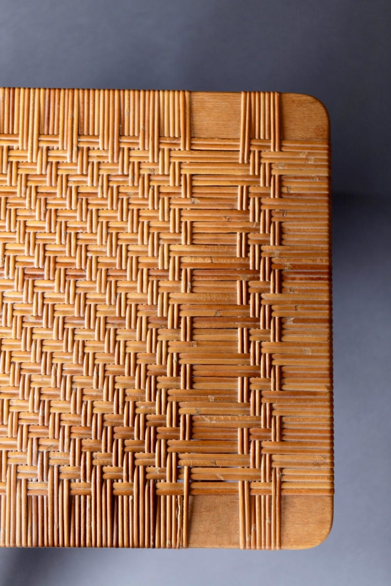 Mid-20th Century Pair of Tables or Benches in Oak and Cane, Designed by Børge Mogensen, 1950s
