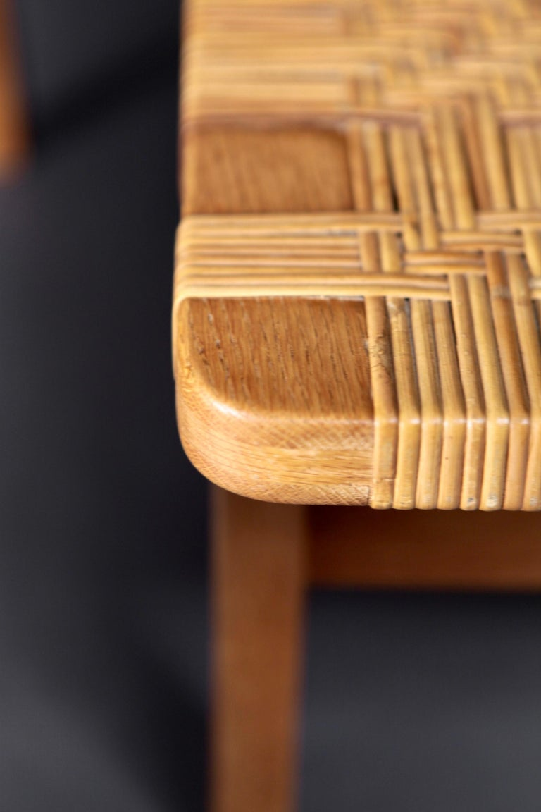 Pair of Tables or Benches in Oak and Cane, Designed by Børge Mogensen, 1950s 2