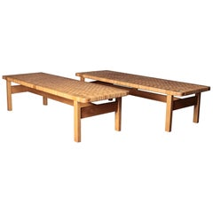Pair of Tables or Benches in Oak and Cane, Designed by Børge Mogensen, 1950s