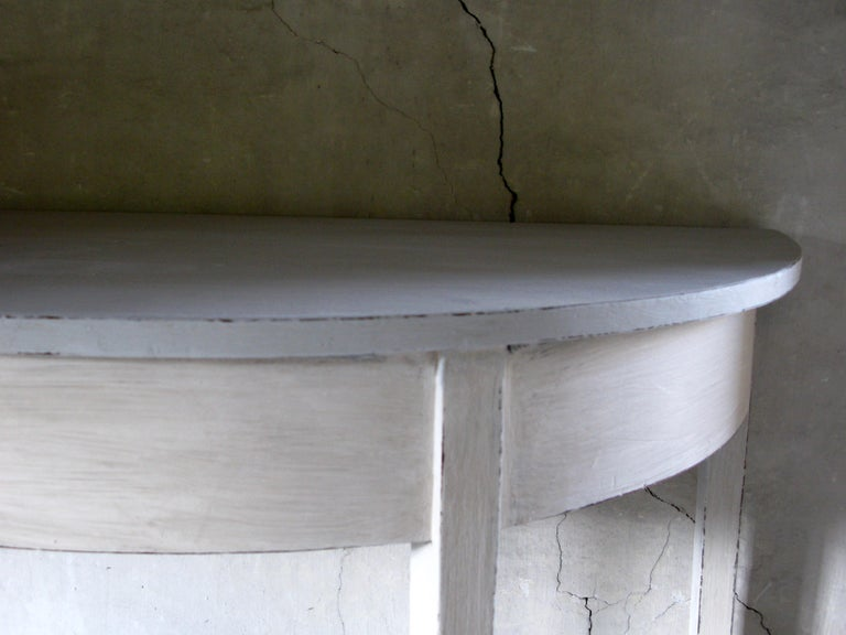 British Pair of Tables, Pair of Gustavian style Tables, Pair of Demilune Tables For Sale