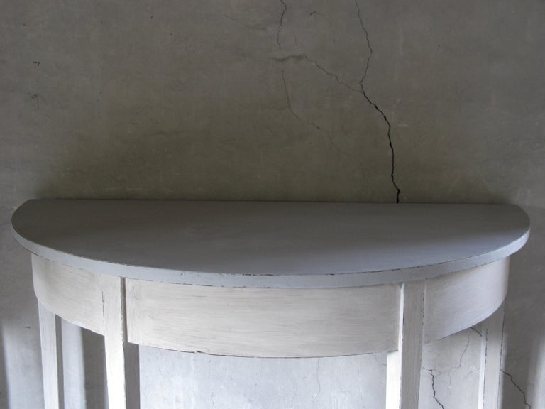 Painted Pair of Tables, Pair of Gustavian style Tables, Pair of Demilune Tables For Sale