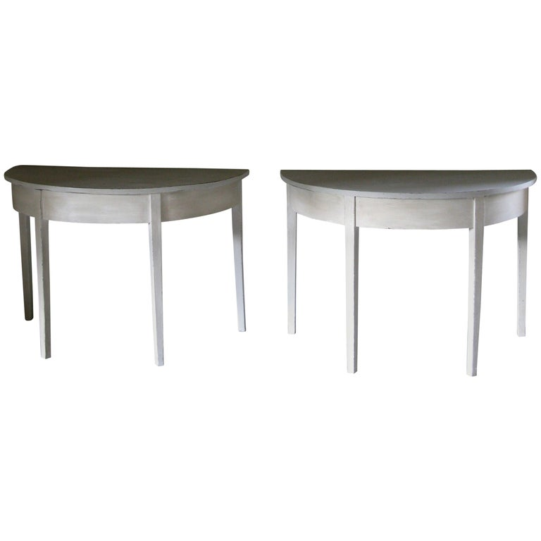 Pair of Tables, Pair of Gustavian style Tables, Pair of Demilune Tables For Sale
