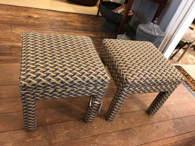 Late 20th Century Pair of Tailored Parsons Style Upholstered Ottomans Benches