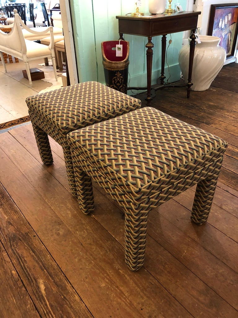 Pair of Tailored Parsons Style Upholstered Ottomans Benches 2