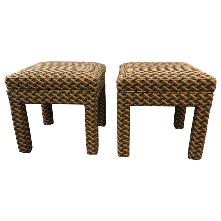Pair of Tailored Parsons Style Upholstered Ottomans Benches