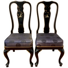 Pair of Asain Black Lacquer and Mother of Pearl Inlay Side Chairs 20th C.