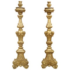 Pair of Tall 18th Century Giltwood Altar Candlesticks from France