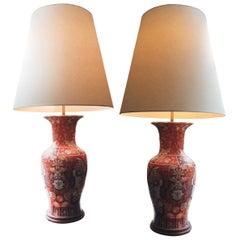 Pair of Tall 1940s Imari Ceramic Table Lamps