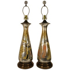 Pair of Tall 1950s Eglomise Silver Leaf Asian Lamps