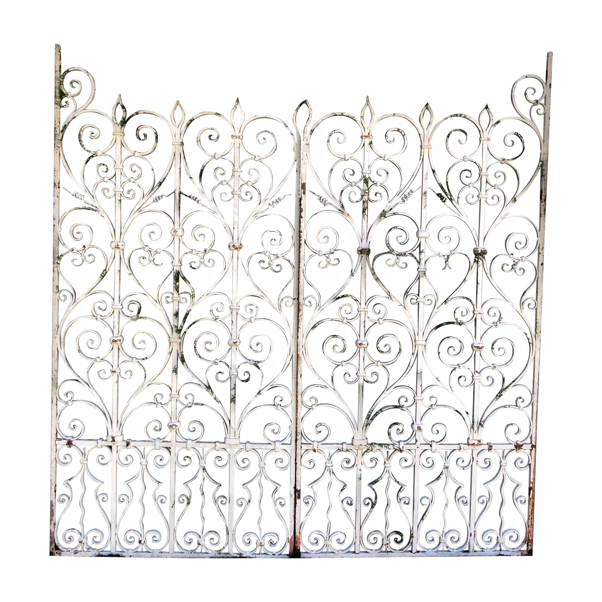 Pair of Tall 19th Century French Wrought Iron Gates