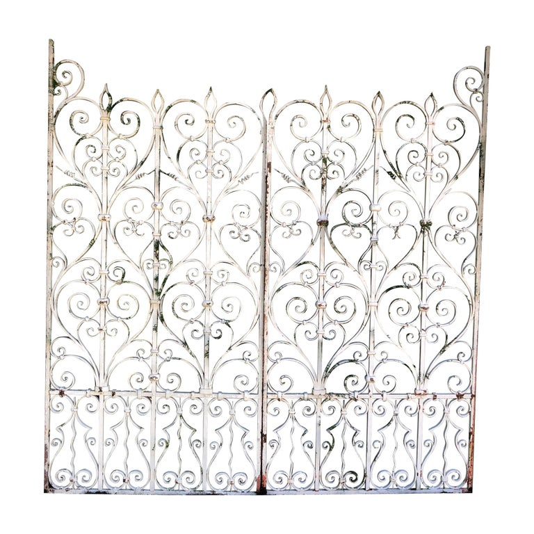 Pair of Tall 19th Century French Wrought Iron Gates For Sale