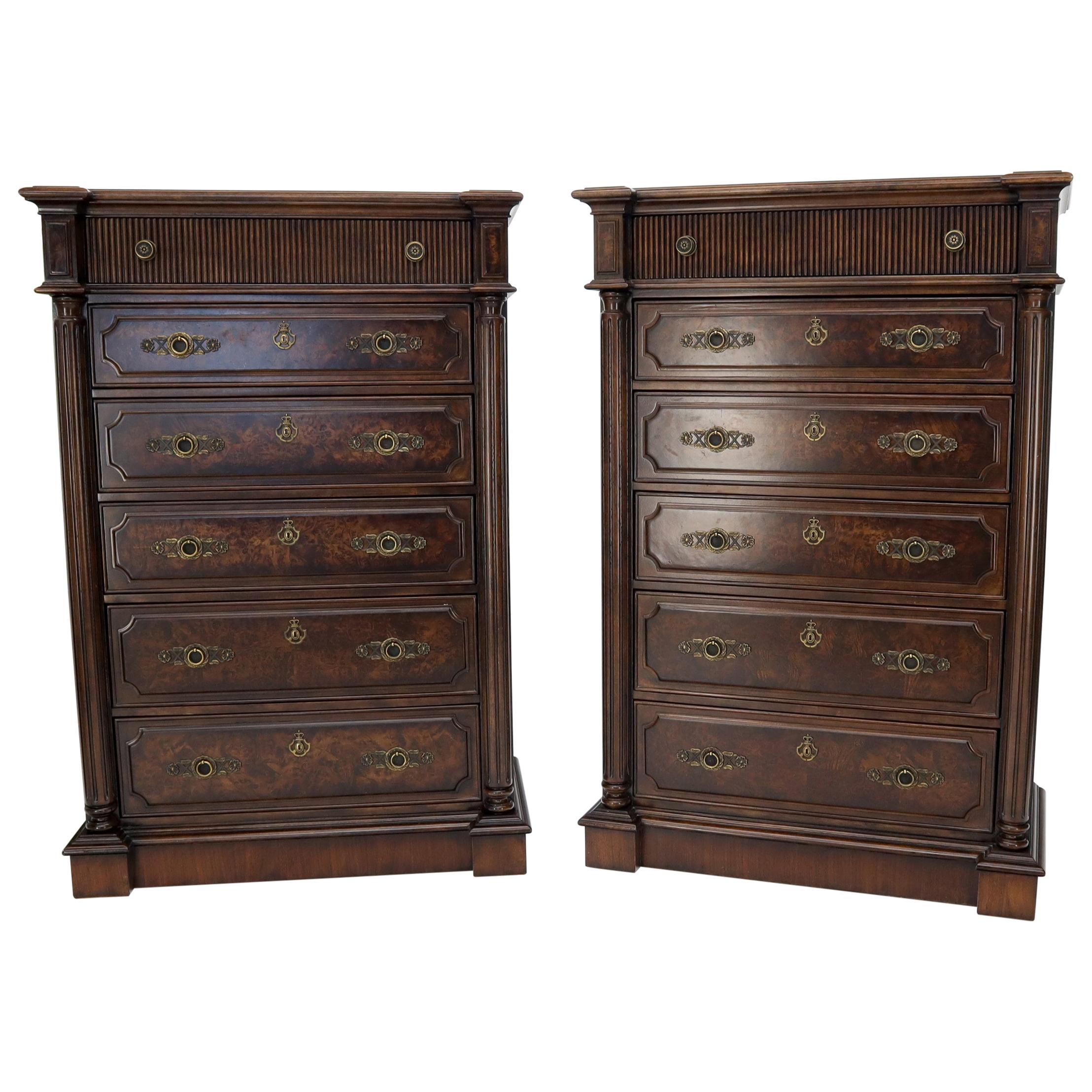 Pair of Tall 6 Drawers Burl Wood Dressers
