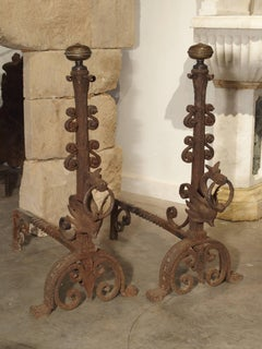 Pair of Tall Antique Forged Andirons from Antwerp, Belgium, circa 1870
