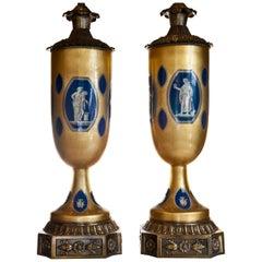 Pair of Tall Antique French Neoclassical Gilt & Lapis Blue Églomisé Glass Lamps