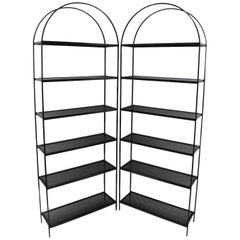 Pair of Tall Arched Iron Mid-Century Modern Bookcase Etagere Mesh Shelves