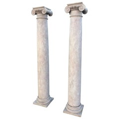 Pair of Tall Architectural Ionic-Order Columns