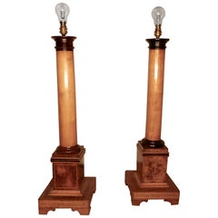 Pair of Tall Art Deco Maple and Walnut Column Table Lamps