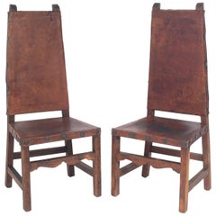Pair of Tall Back Mexican Leather Chairs
