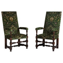 Tall Back Mahogany Chairs in 100% Cotton Velvet from House of Hackney