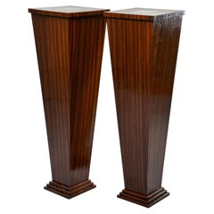 Pair of Tall Bespoke Walnut Display Stands with Interior under Light