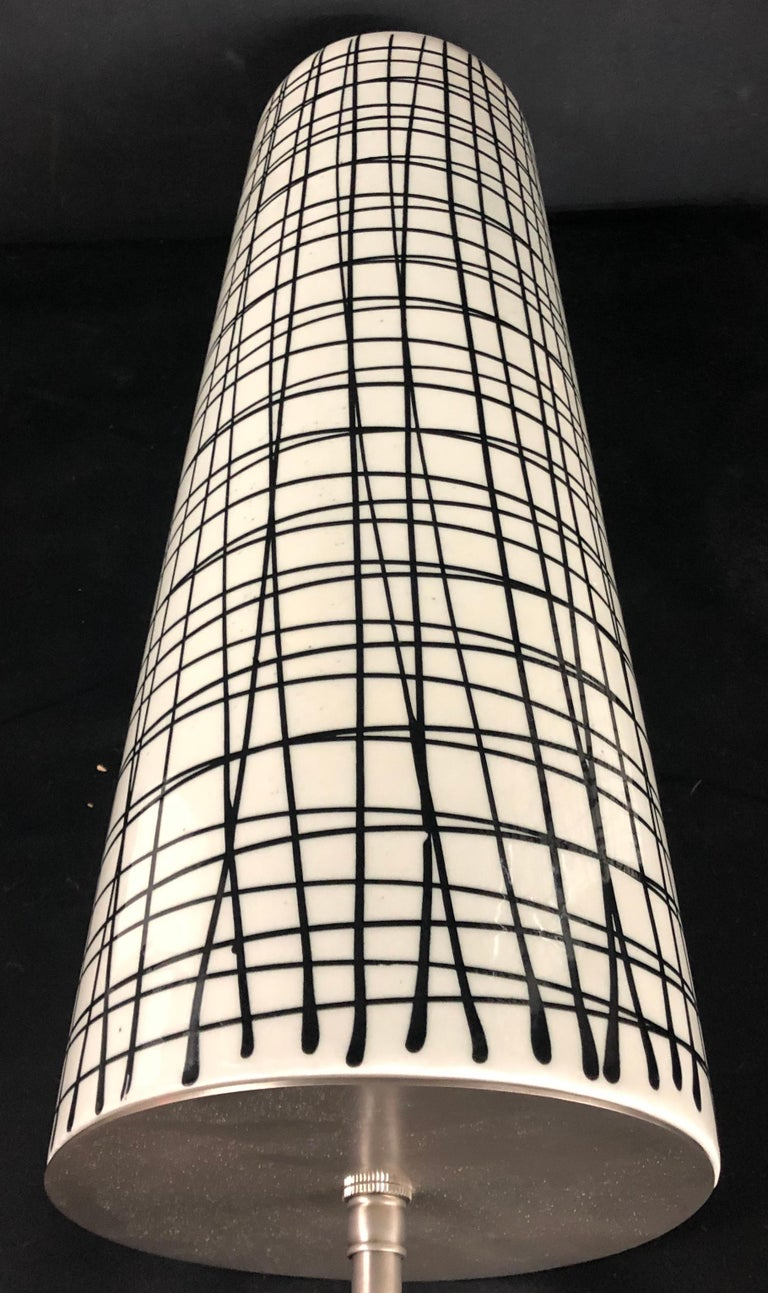 Ceramic Pair of Tall Black and White Crosshatched Vases with Lamp Application For Sale