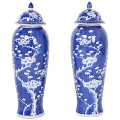 Pair of Tall Blue and White Chinese Porcelain Jars or Urns
