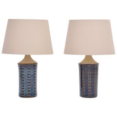 Pair of Tall Blue Mid-Century Modern Table Lamps by Maria Philippi for Soholm