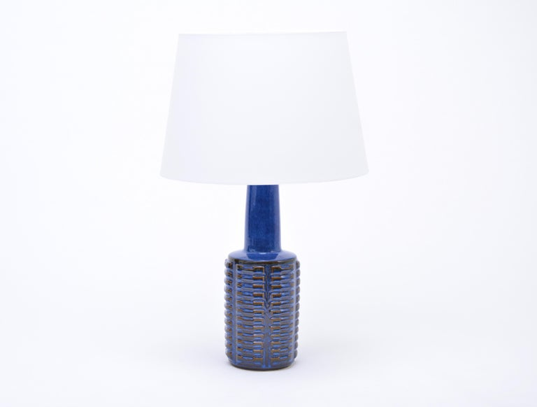 Pair of Tall Blue Vintage Stoneware Table Lamps by Einar Johansen for Søholm For Sale 2