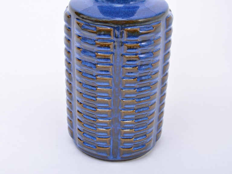 Pair of tall blue Mid-Century Stoneware table lamps by Einar Johansen for Søholm For Sale 3