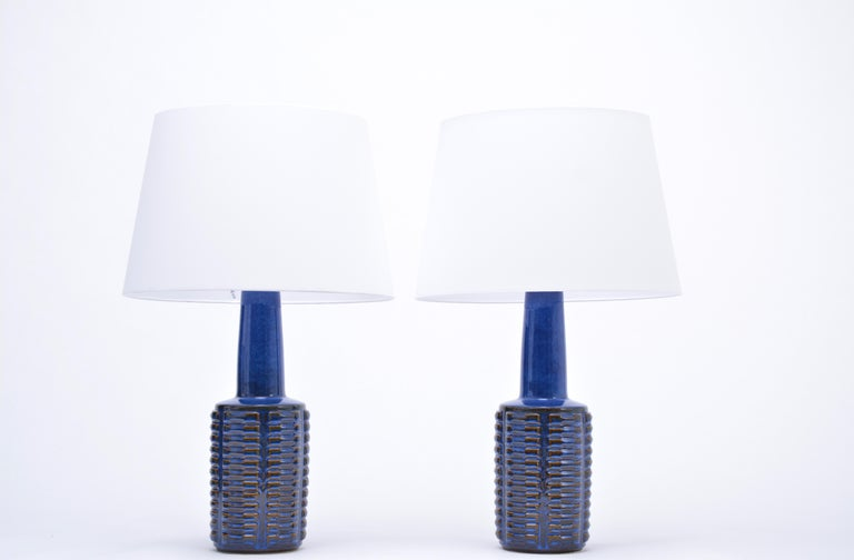 Mid-Century Modern Pair of Tall Blue Vintage Stoneware Table Lamps by Einar Johansen for Søholm For Sale