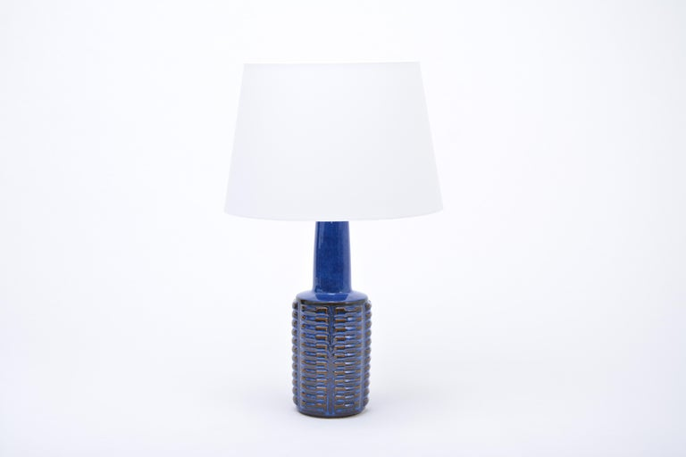 Danish Pair of Tall Blue Vintage Stoneware Table Lamps by Einar Johansen for Søholm For Sale