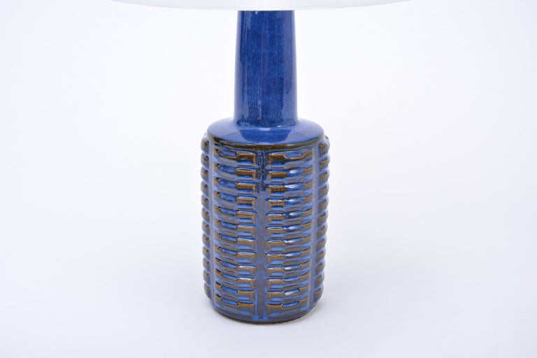 Glazed Pair of Tall Blue Vintage Stoneware Table Lamps by Einar Johansen for Søholm For Sale