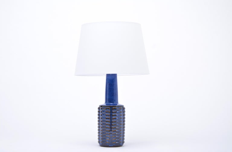 Pair of tall blue Mid-Century Stoneware table lamps by Einar Johansen for Søholm For Sale 1