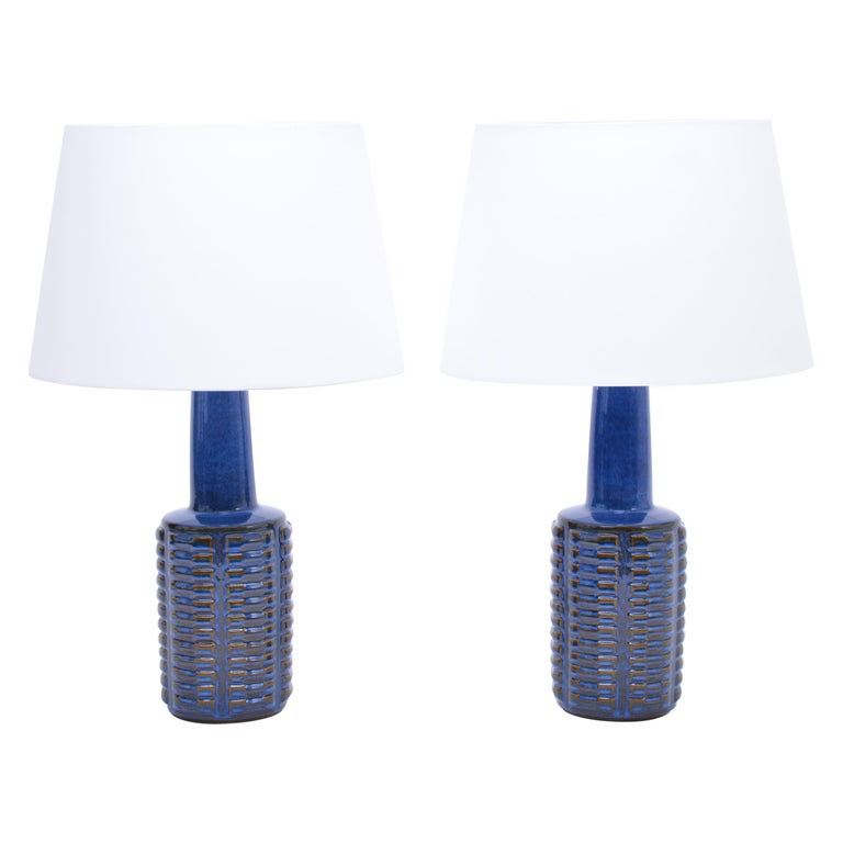 Pair of tall blue Mid-Century Stoneware table lamps by Einar Johansen for Søholm For Sale