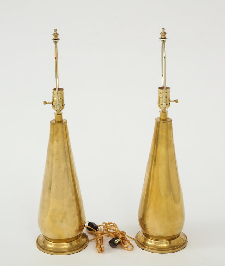 Pair of Tall Brass Lamps For Sale 5