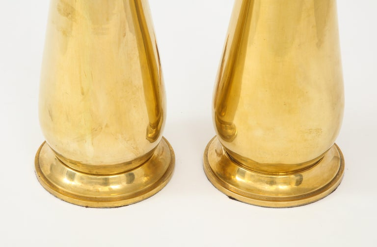 American Pair of Tall Brass Lamps For Sale