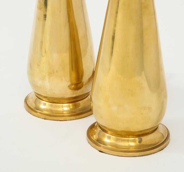 20th Century Pair of Tall Brass Lamps For Sale