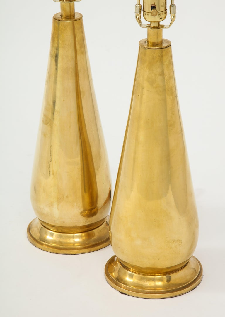 Pair of Tall Brass Lamps For Sale 1