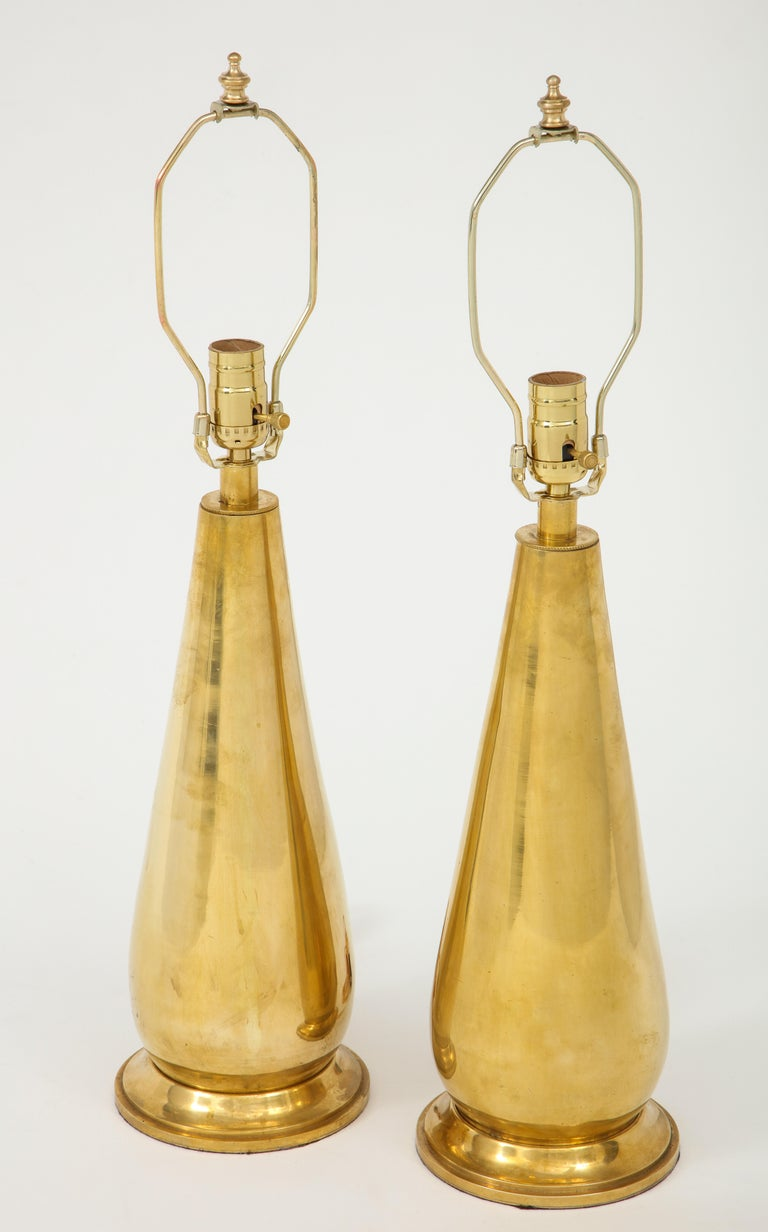 Pair of Tall Brass Lamps For Sale 2