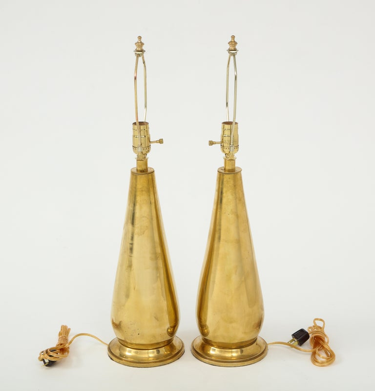 Pair of Tall Brass Lamps For Sale 3