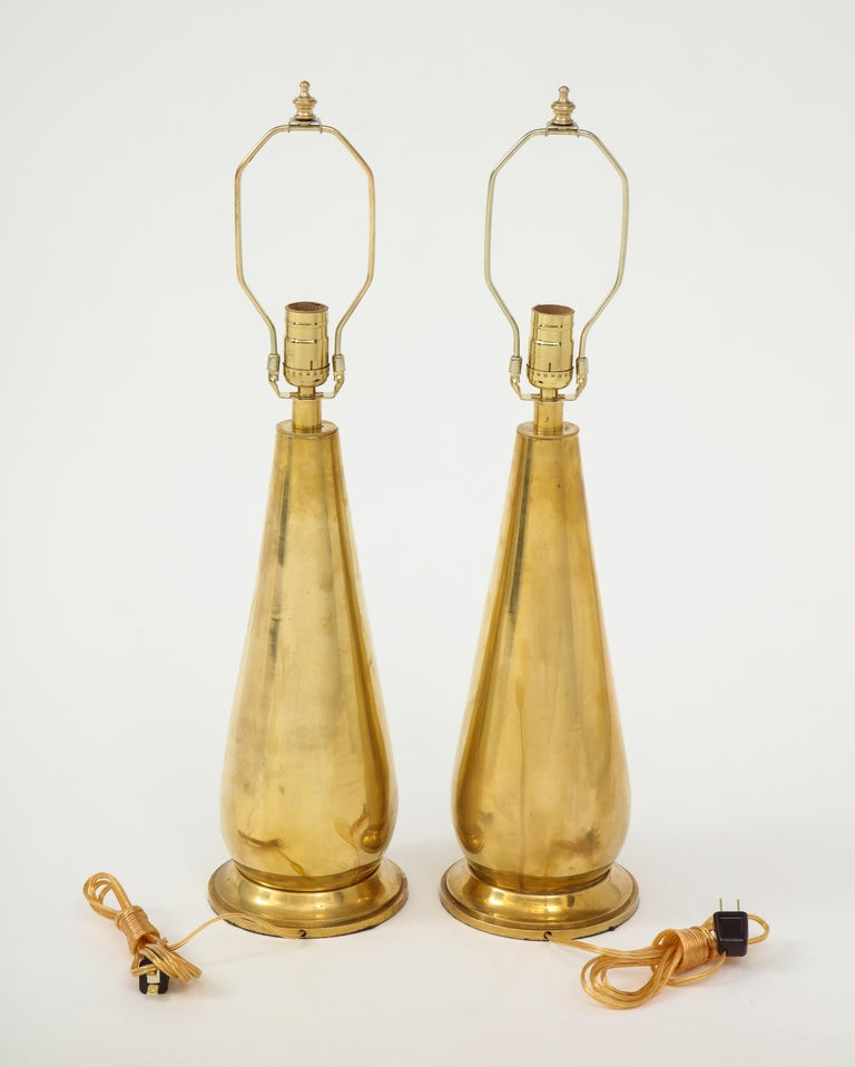 Pair of Tall Brass Lamps For Sale 4