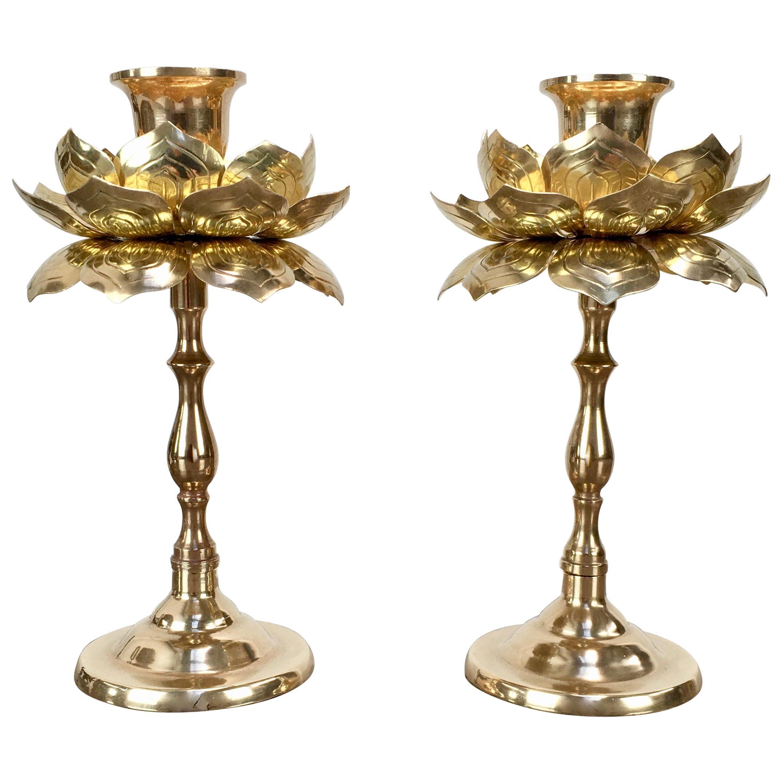 Pair of Tall Brass Lotus Flower Candleholders by Feldman, 1960s