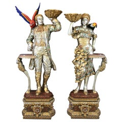 Pair of Tall Bronze Lifesize Painted Venetian Sculptures with Birds and Conchs