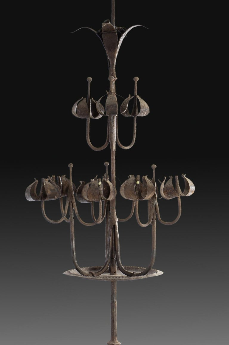 Gothic Revival Pair of Tall Candelabra O Candelabrum, Neogothic Style, Wrought Iron, Spain For Sale
