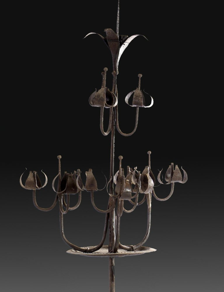 Spanish Pair of Tall Candelabra O Candelabrum, Neogothic Style, Wrought Iron, Spain For Sale