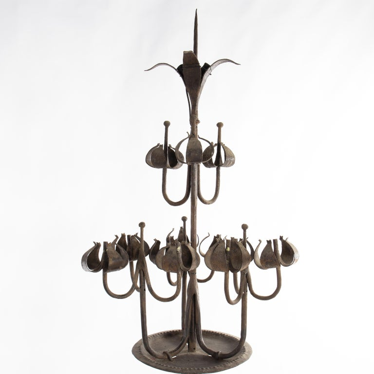 Pair of Tall Candelabra O Candelabrum, Neogothic Style, Wrought Iron, Spain In Fair Condition For Sale In Madrid, ES