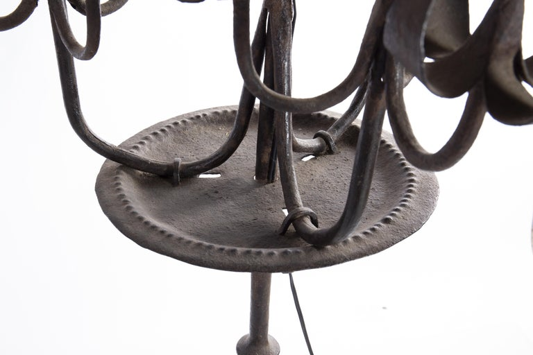 Pair of Tall Candelabra O Candelabrum, Neogothic Style, Wrought Iron, Spain For Sale 1